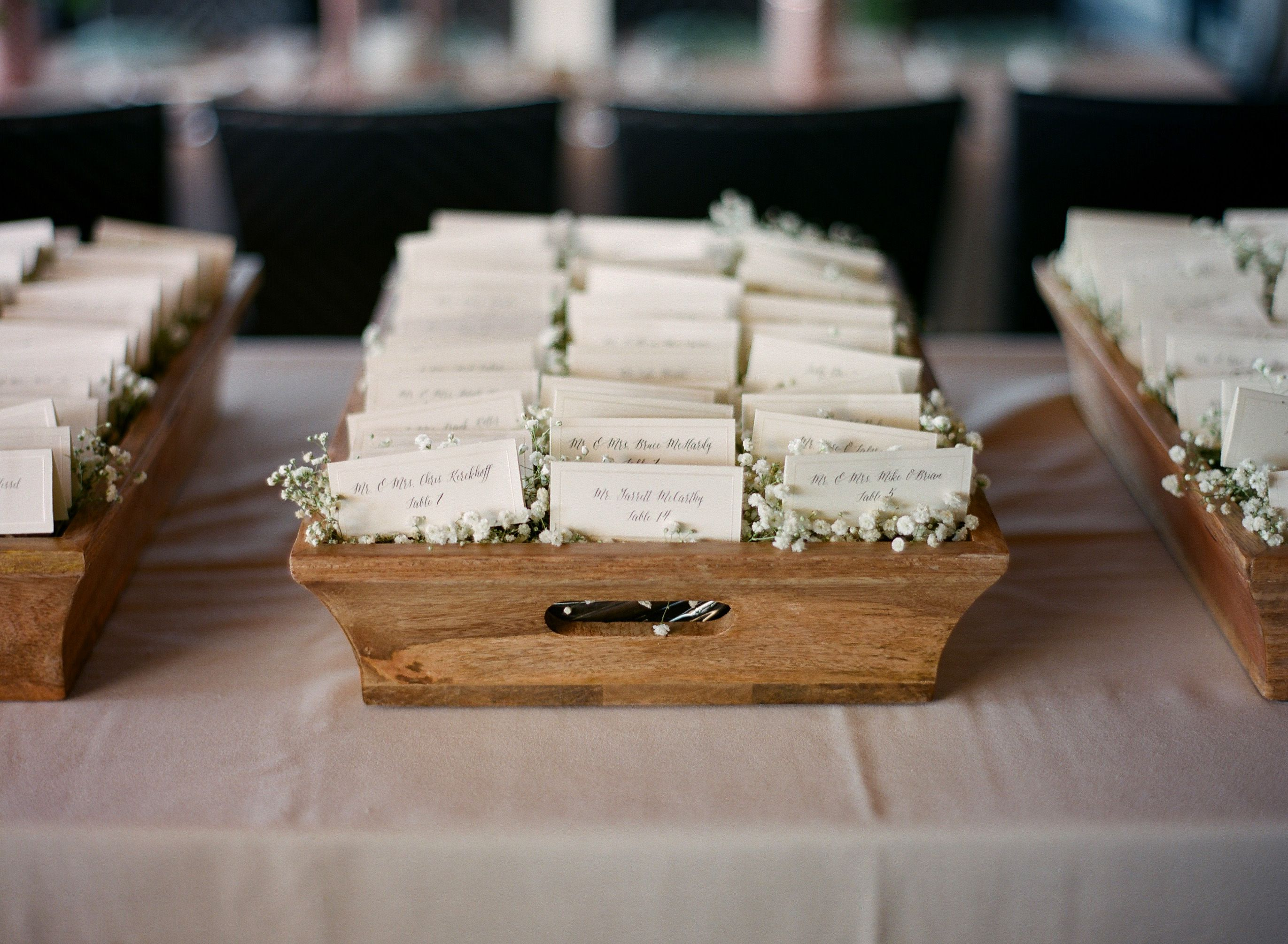 Wooden Box Baby s Breath Escort Card Display