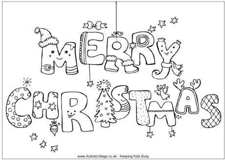merry christmas colouring page more
