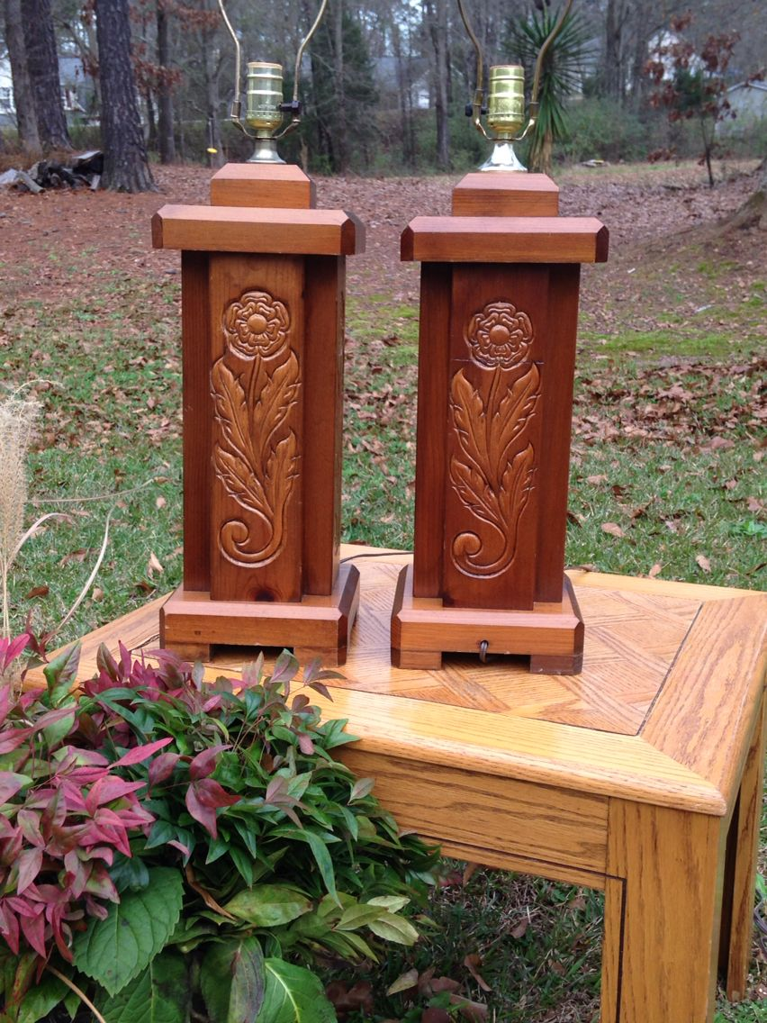 """My $5 1960's pair of solid carved wood """"block"""" lamps- These are great lamps!"""