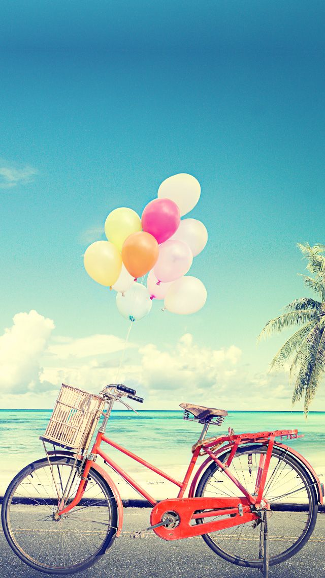 Art Creative Sky Bike Balloons Palms Summer HD IPhone Wallpaper