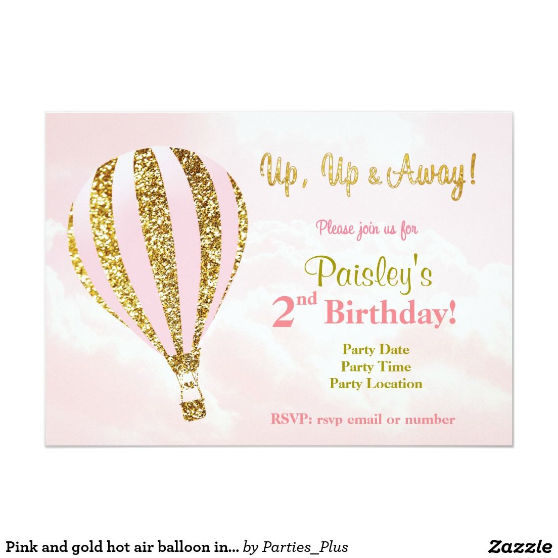 Hot air balloon birthday Invitations in pink and gold