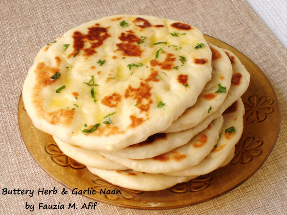Buttery Herb Garlic Naan - Fauzia's Kitchen Fun
