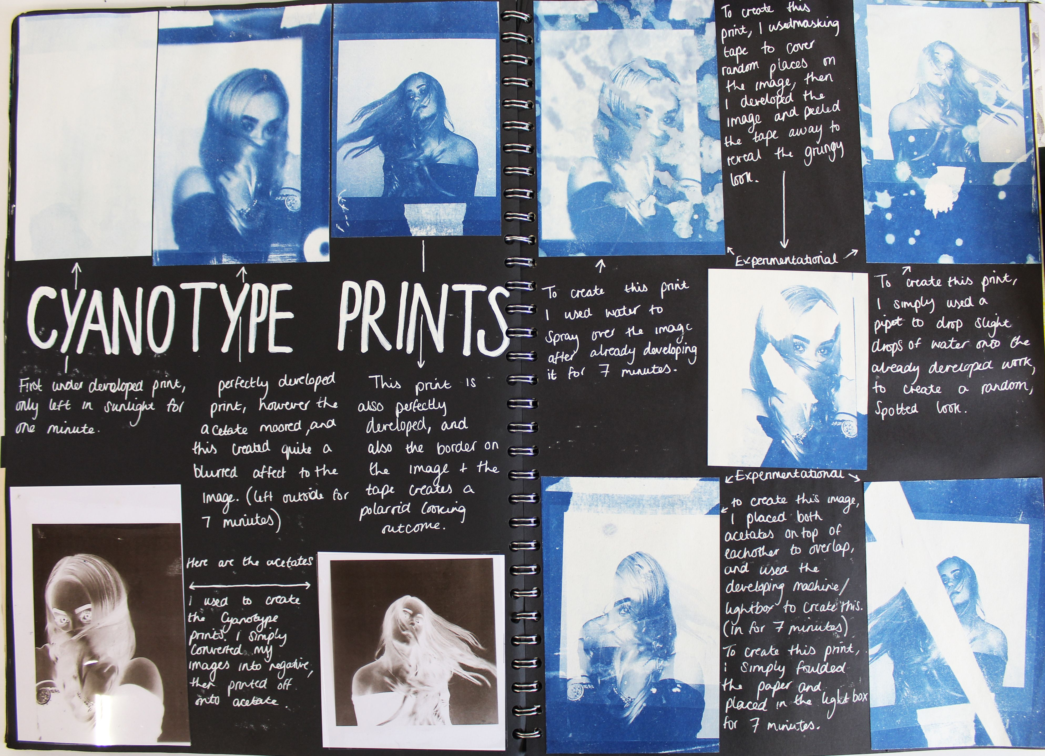 A1 Graphics A3 Black Sketchbook Cyanotype Prints Component 1 Freedom And Or Limitations Thomas Rotherham College 2018 Sketch Book Cyanotype Prints