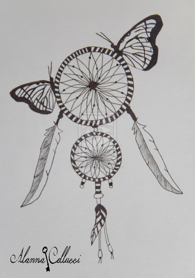 Dream catcher and butterflies drawings pinterest for Cool drawing design ideas