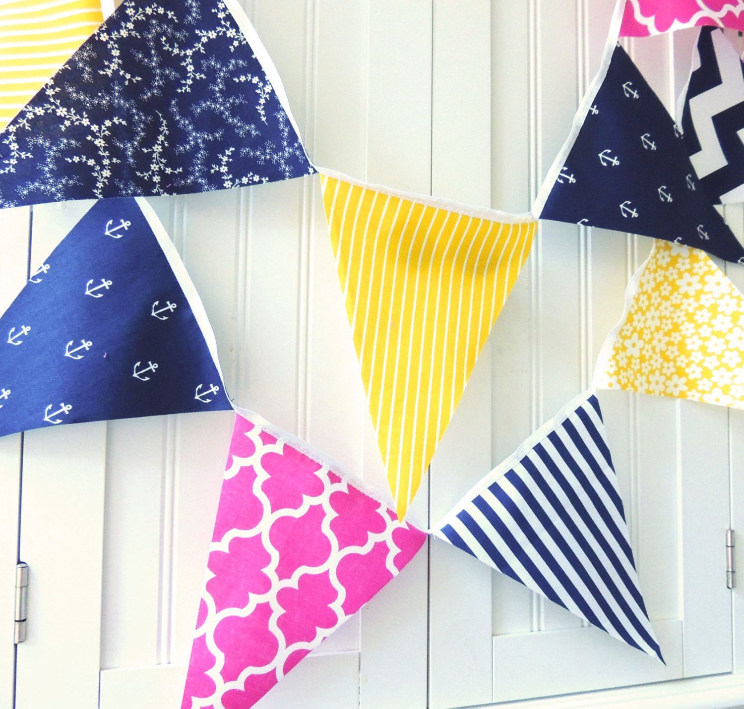 Bunting banner fabric pennant flags nautical girl birthday navy