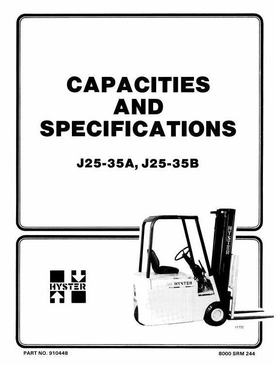 Hyster Forklift Truck Type B160: J25A, J25B, J30A, J30B