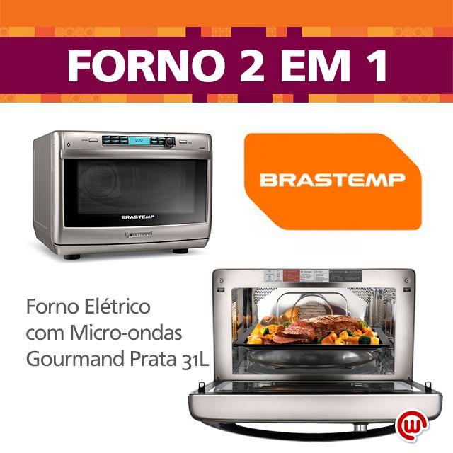 O 2 em 1 da Brastemp - Forno com Micro-ondas Gourmand Prata 31L. Ele é tudo que um Gourmand precisa: é Forno Elétrico com convecção, garantindo cozimento uniforme dos alimentos, é um microondas, também cozinha a vapor, deixando seus pratos mais suculentos e saudáveis, tem função grill e crisp. E ainda vem com um livro de receitas para fazer pratos deliciosos e fáceis! CONFIRA: http://bit.ly/JFlqhX