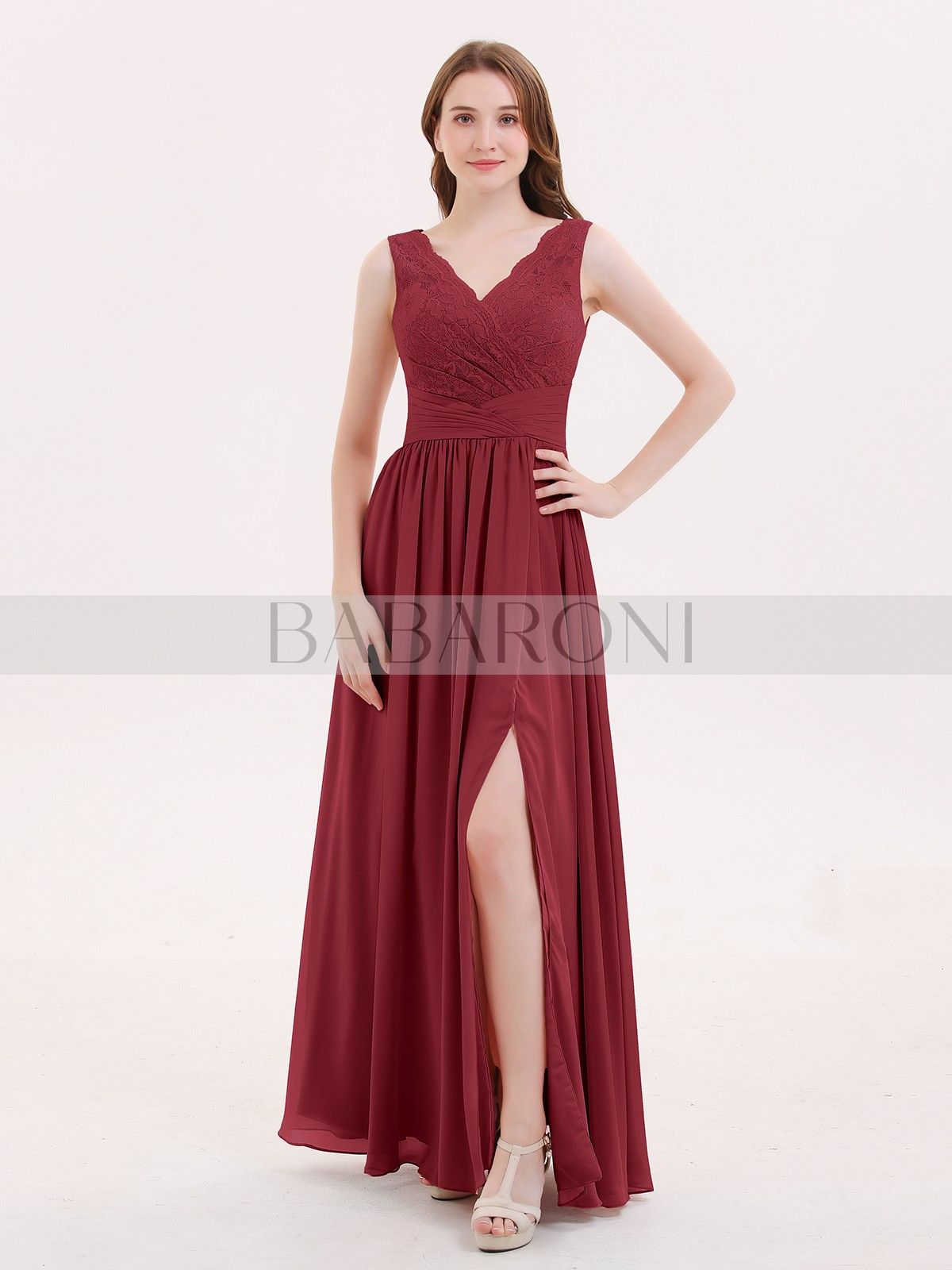 659e053b0e6 Burgundy Novia V Neck Chiffon And Lace Dress with Slit