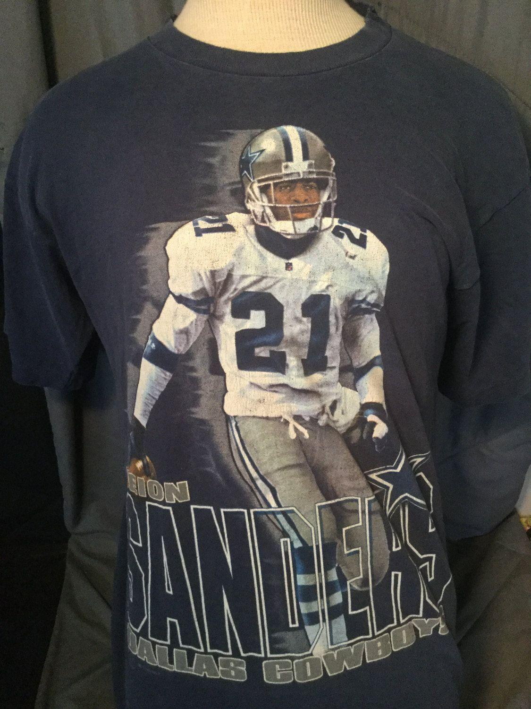 buy online 8df43 67e7b Vintage 1990 Dallas Cowboys Deion Sanders Prime Time T-Shirt ...