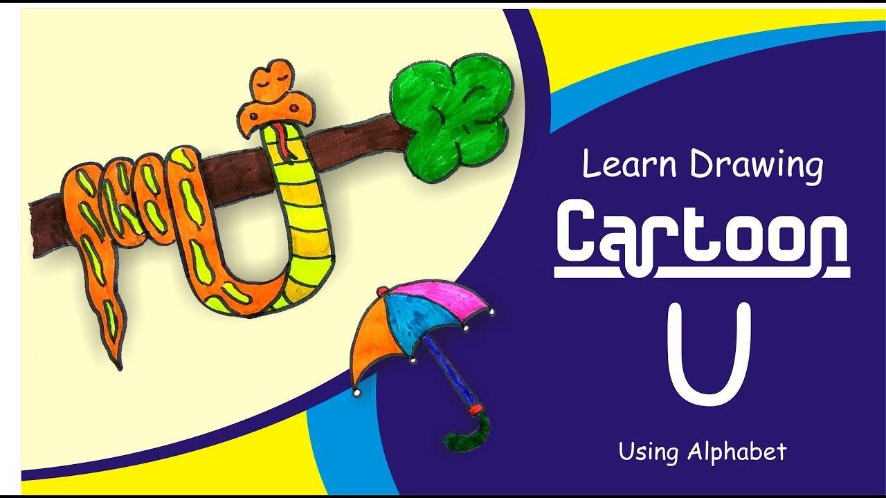 draw cartoon with alphabet