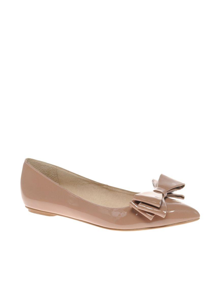 1553326e17e Dune Lavish Patent Bow Pointed Flat Shoes at asos.com