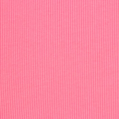 Bubblegum Pink Wide Wale Cotton Ribbing Knit Fabric A Color Rib Ribbed Has Wider