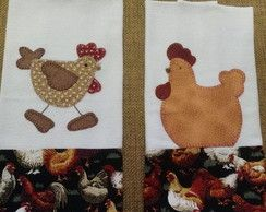 Pano de prato com aplicação - galinha