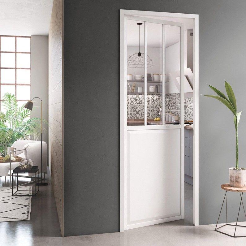 Bloc Porte Atelier Laquee Alu Blanc Artens H 204 X L 83 Cm Poussant Gauche Bloc Porte Cuisine Moderne Blanche Porte Fenetre Coulissante