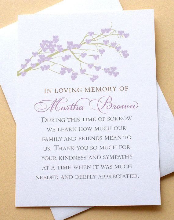 Sympathy Thank You Cards With A Branch Of Purple By Zdesigns0107