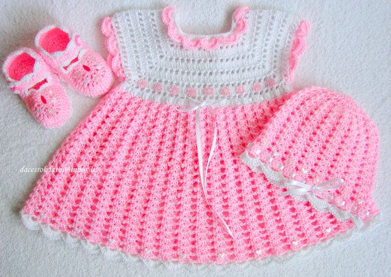 Crocheted Dress And Hat For Baby Girl Baby Summer Dress