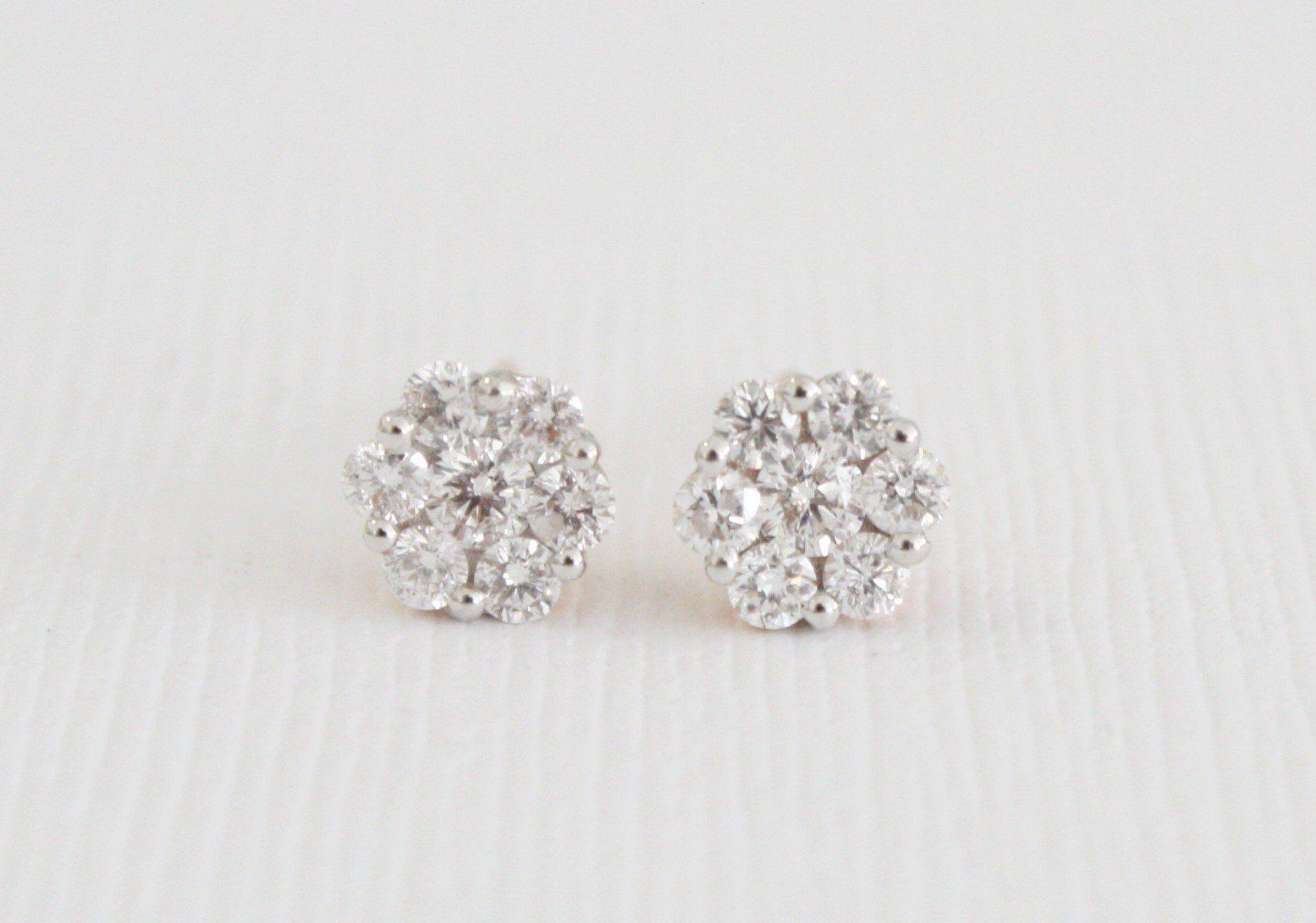 Diamond Flower Cluster Stud Earrings In 18k Rose Gold Wedding Jewelry Earrings Stud Earrings 18k Rose Gold Earrings