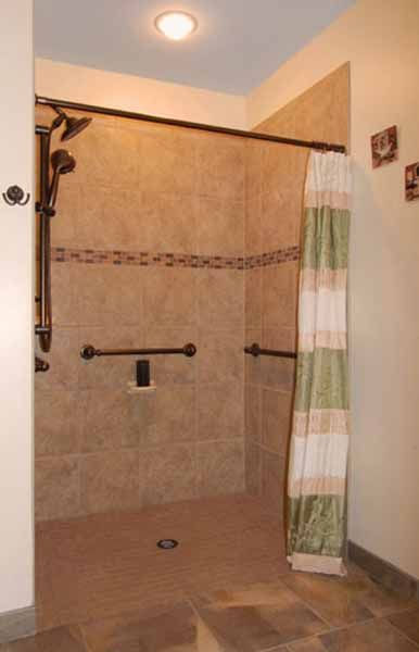 The square tub for this bathroom remodel was replaced by this