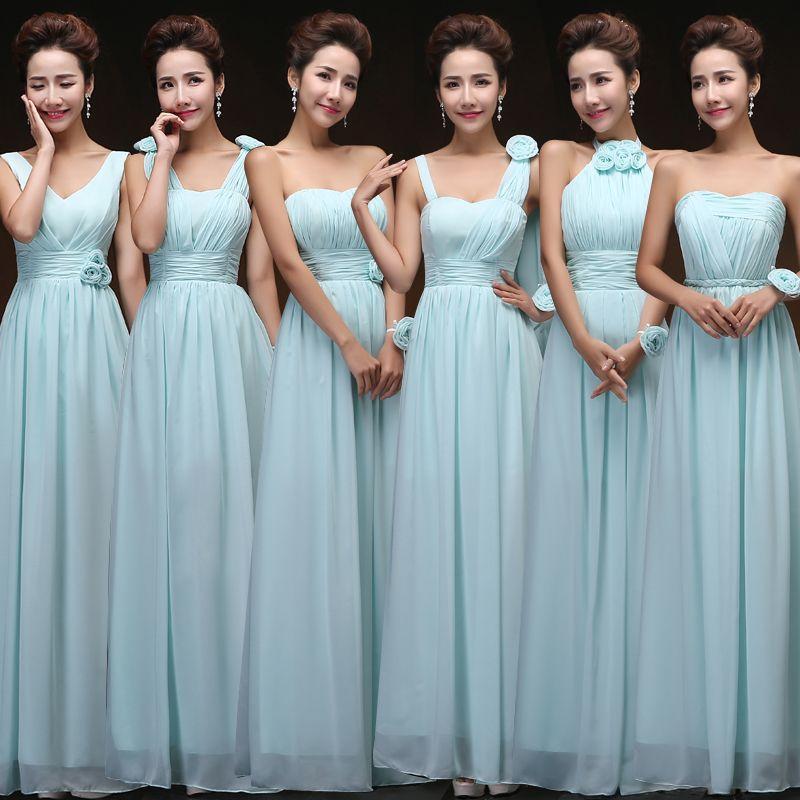 vestido de festa de casamento sky blue bridesmaid dress