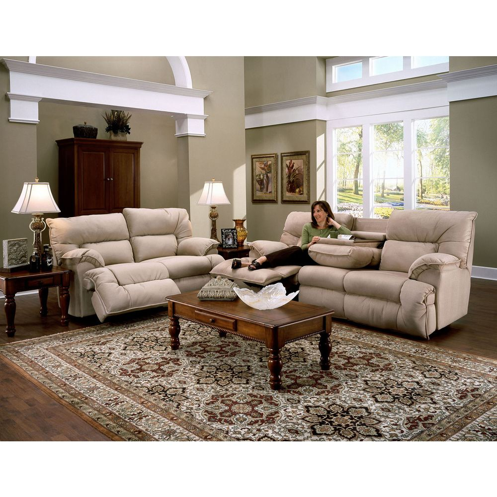 Franklin Tristin Beige Microfiber Dual Reclining Sofa