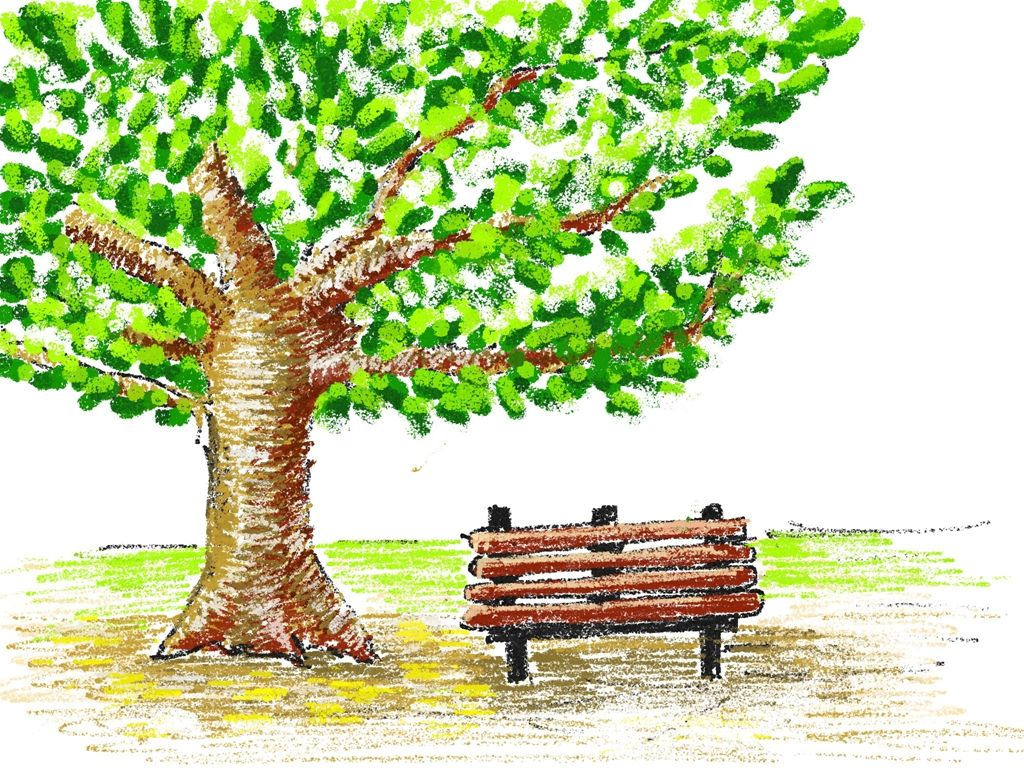 Crayon drawing tree and bench green and brown | Drawings and ...