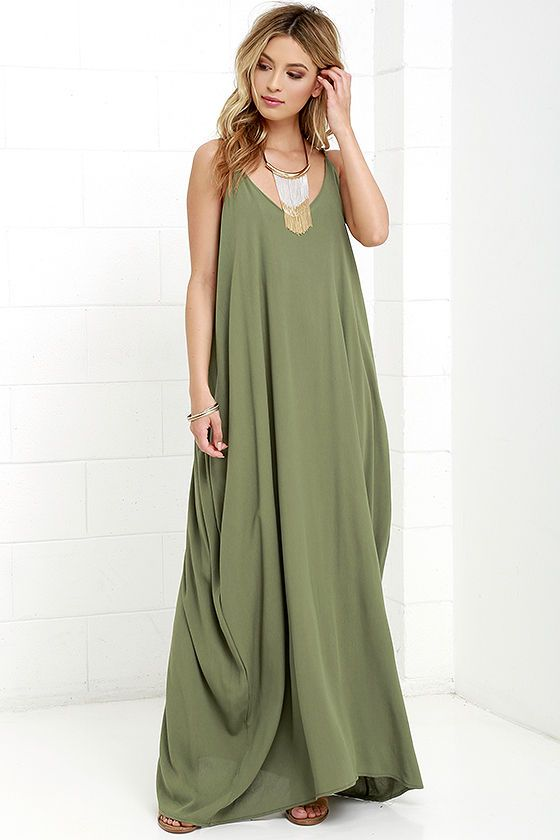 c81bc1be05 Lulus Exclusive! Every flower in the garden won t compare to you in the  Garden Charmer Olive Green Maxi Dress! This simple
