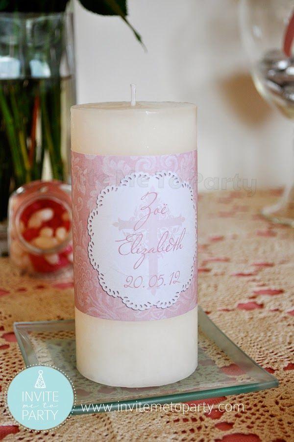Christening Candle Wrapper/ Baptism / Dedication  Invite Me To Party: Dedicaton Party / Christening Party / Baptism Party