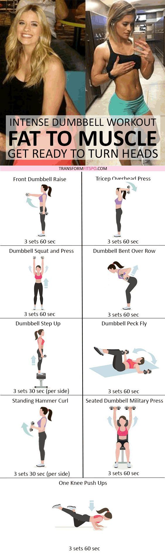 Rapid Results Dumbbell Workout! Adding Weights Will Turn Fat to Muscle! Get Ready to Turn Heads - Dumbbell - Ideas of Dumbbell #Dumbbell - #womensworkout #workout #femalefitness Repin and share if this workout turned your fat to muscle! Click the pin for the full workout.