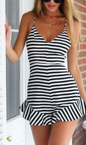 Striped Falbala V Neck Romper