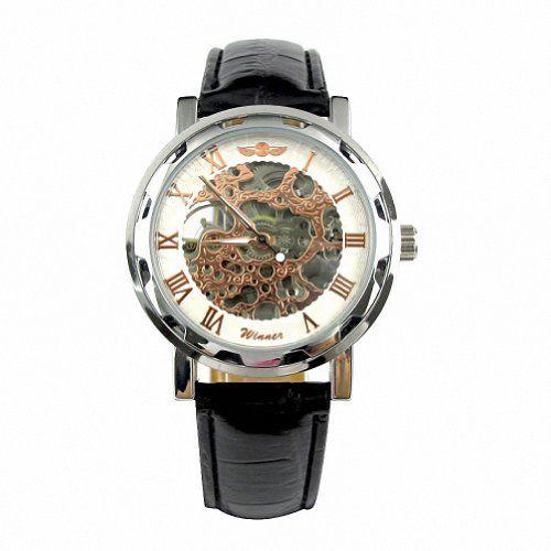 MapofBeauty Unisex's Synthetische Leder Uhrenarmband Automatik Selbst Wind rund Mechanische Uhren (Schwarz Uhrenarmband / Coppery Zifferbltter) - http://uhr.haus/mapofbeauty/mapofbeauty-schwarz-teilweise-hohl-schwarzes-pu-5