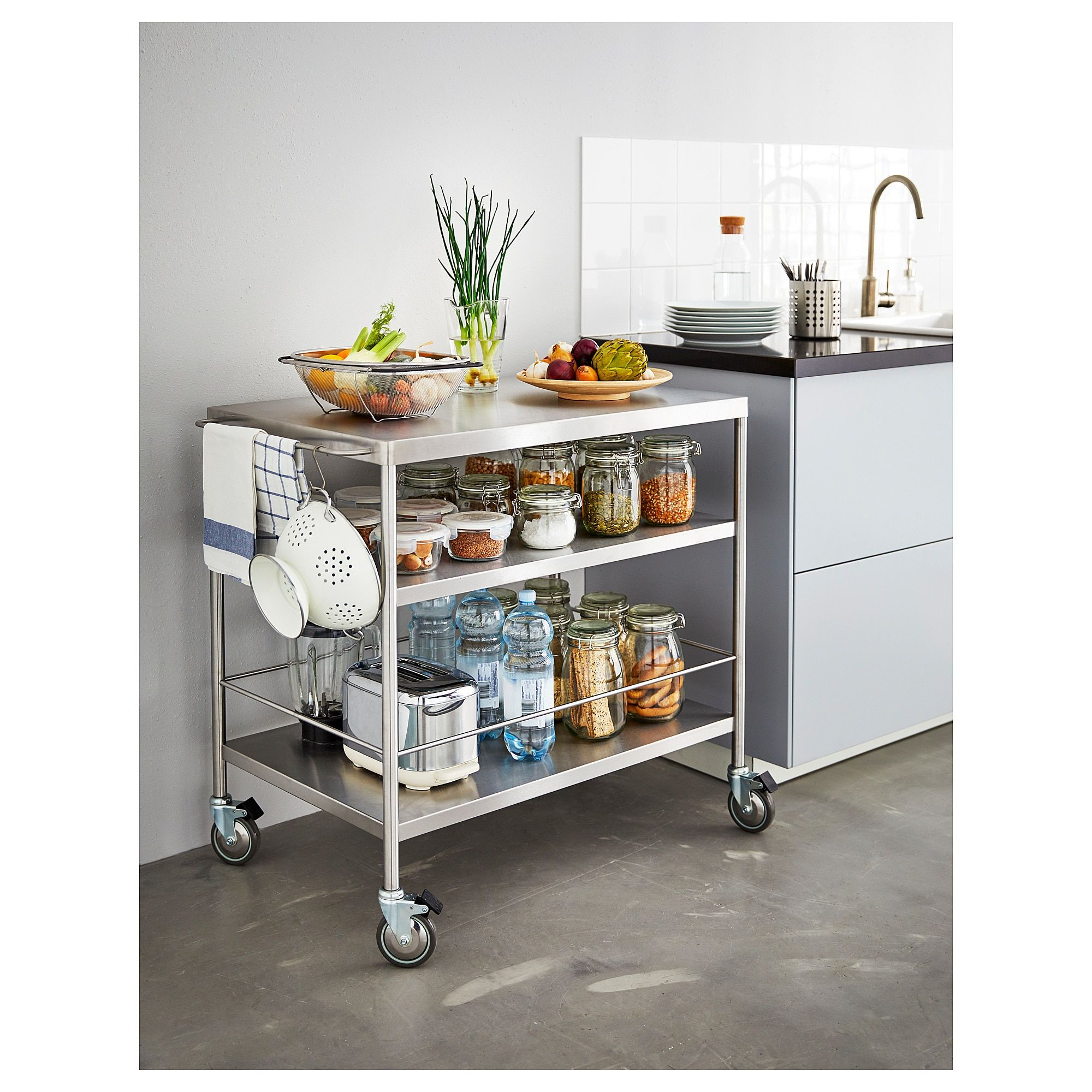 Flytta Kitchen Cart Stainless Steel 38 5 8x22 1 2 98x57 Cm