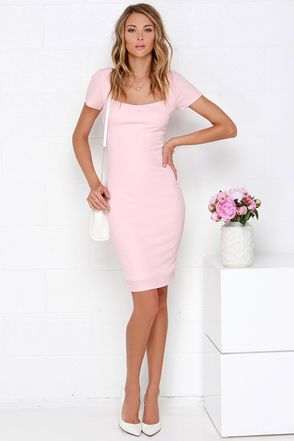 1574fb86f0d5 Photo Opportunist Blush Pink Bodycon Midi Dress at Lulus.com!