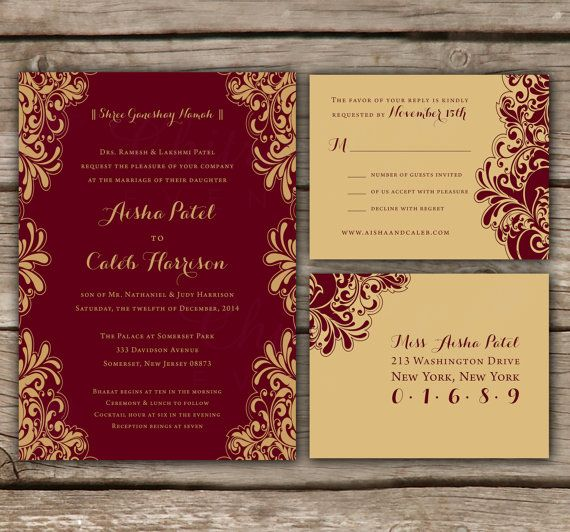 You Are Purchasing Red Gold Indian Style Wedding Invitations Rsvp Postcards
