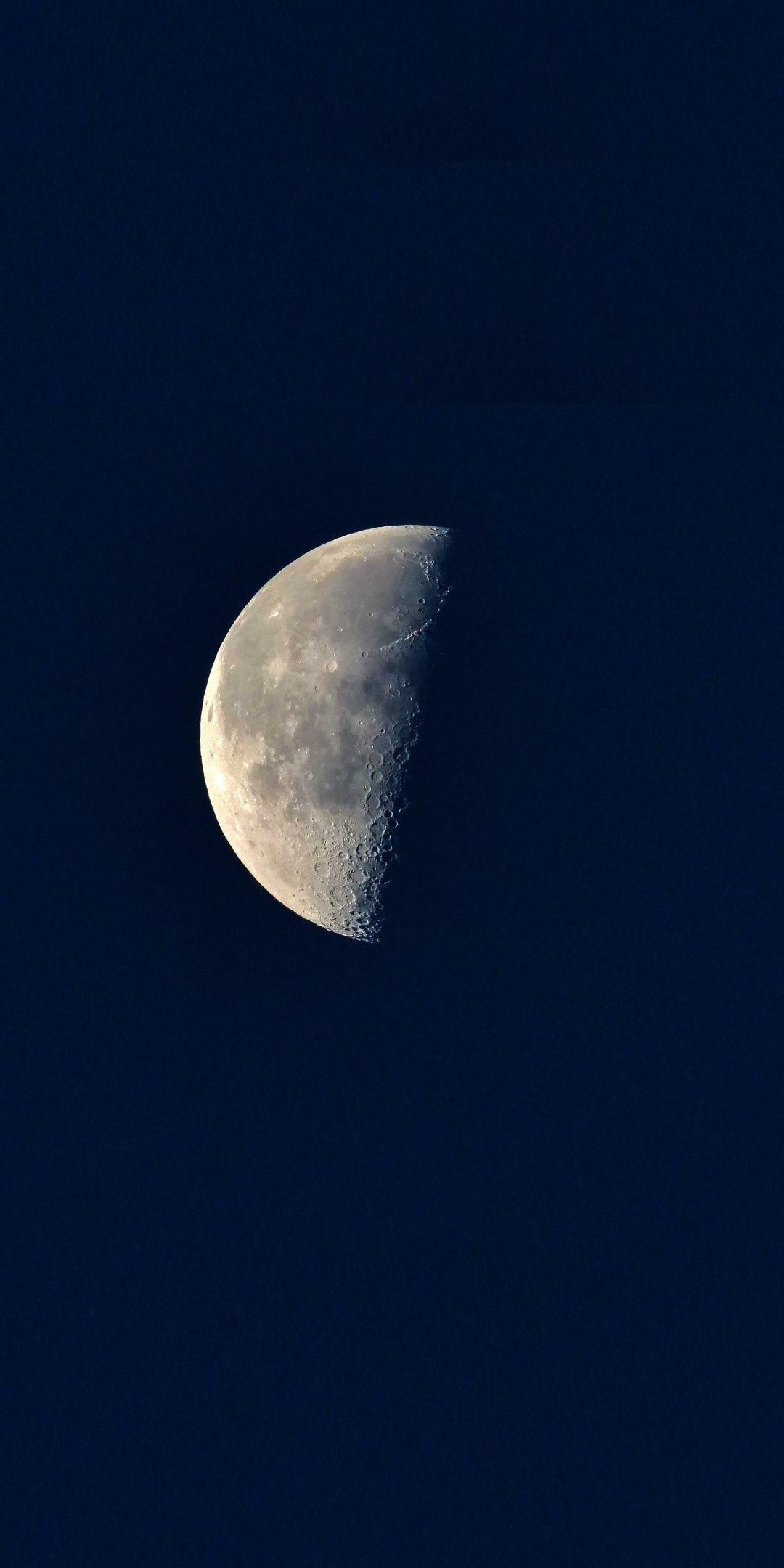 Moon, half, blue sky, night, 1080x2160 wallpaper Blue