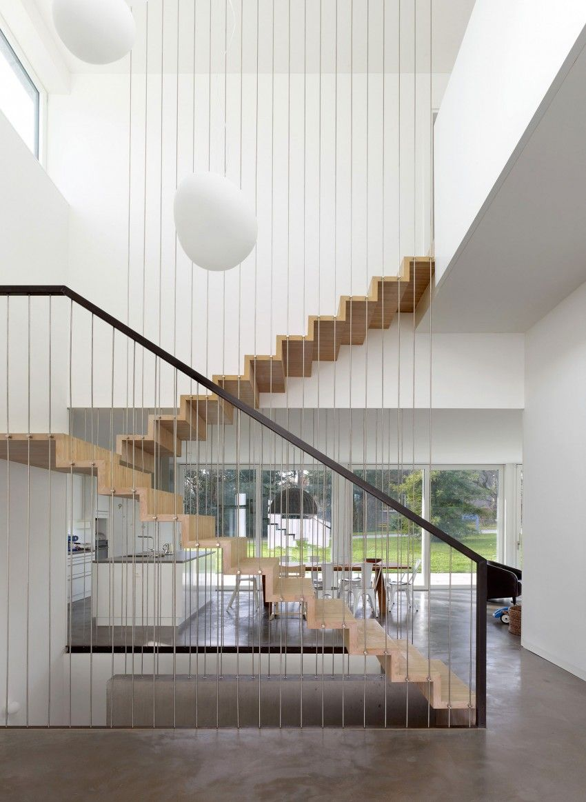 Home interior railings complex living program concentrated on narrow lot single family