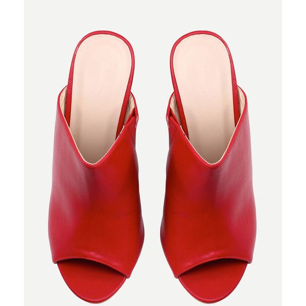 new york discount shop presenting Red Faux Leather Block Heel Mules ($11) ❤ liked on Polyvore ...