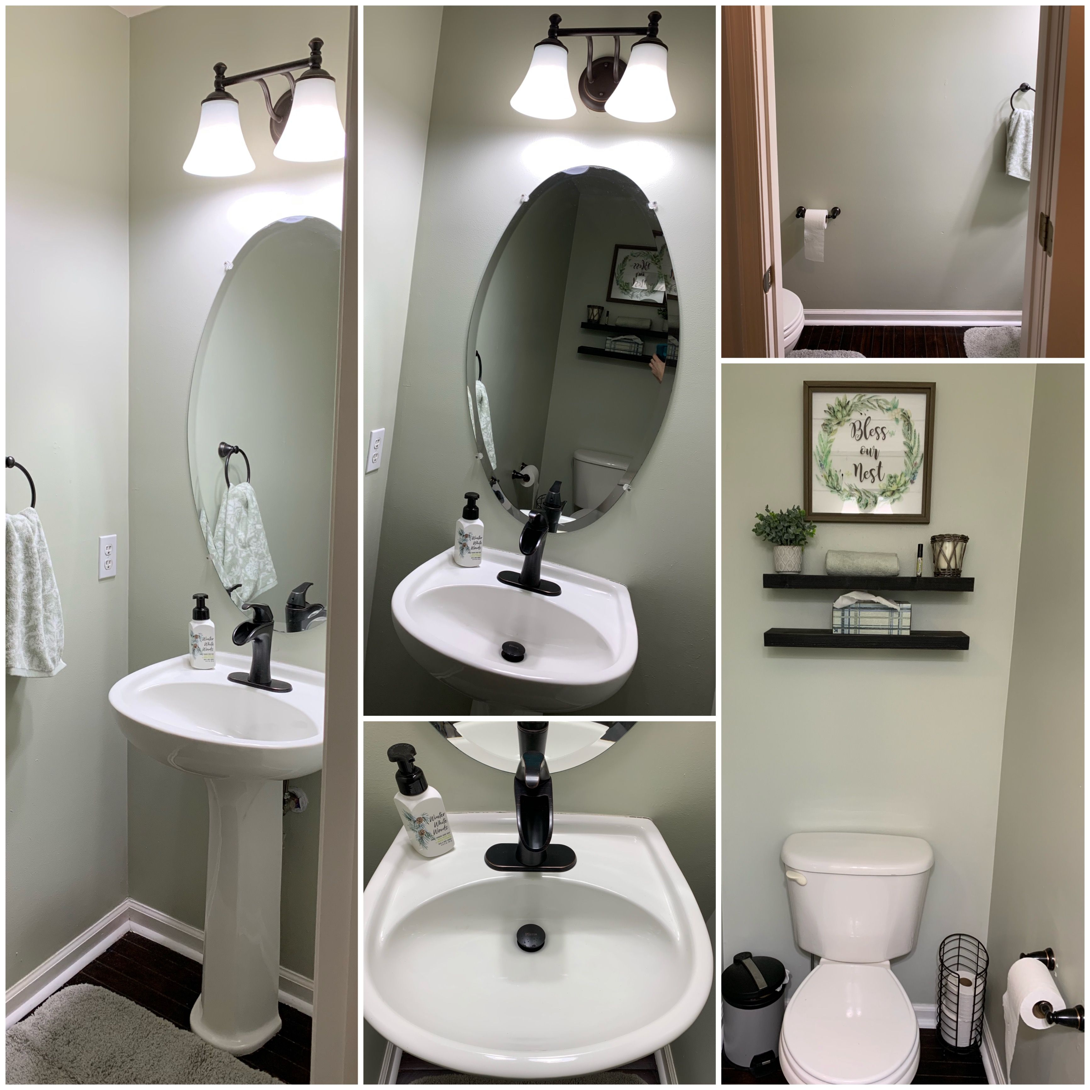 Behr Sawgrass Paint Farmhouse Half Bath Painting Bathroom Bathroom Decor Bathroom Paint Colors