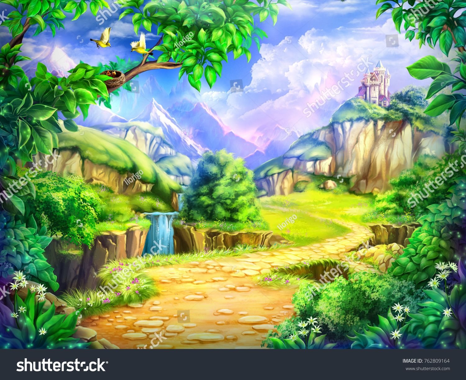 Fairy Tale Cartoon Background Digital Art Illustration Of A Fairytale Castle Road Mountains And Wate Cartoon Background Fairytale Illustration Fairy Tales