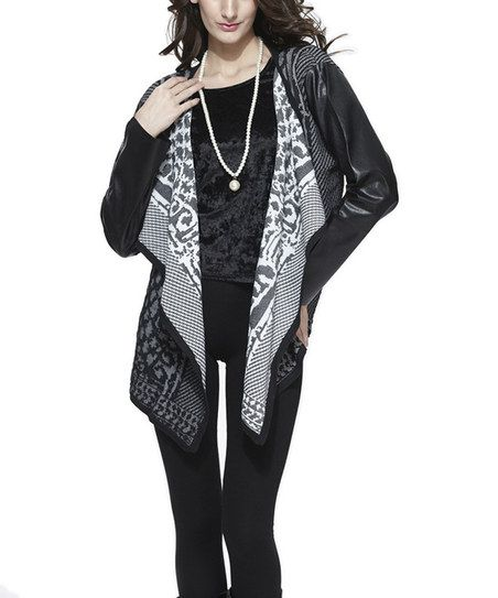 Black Abstract Faux Leather Cardigan