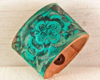 Turquoise Bracelet Bohemian Jewelry Leather Cuff Hippie Gypsy Boho Wristband Autumn Fall