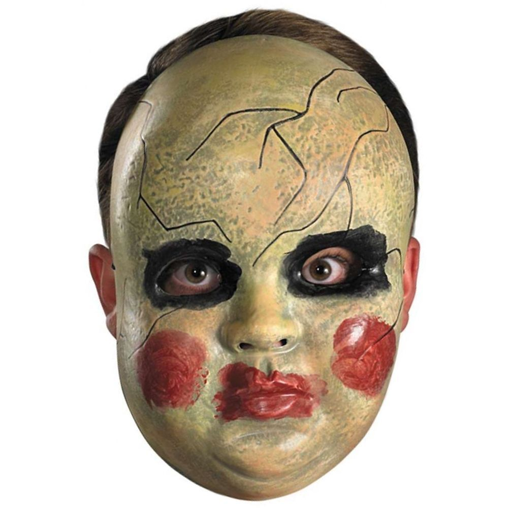 Smeary Baby Doll Face Mask Costume Accessory Adult Creepy Scary ...