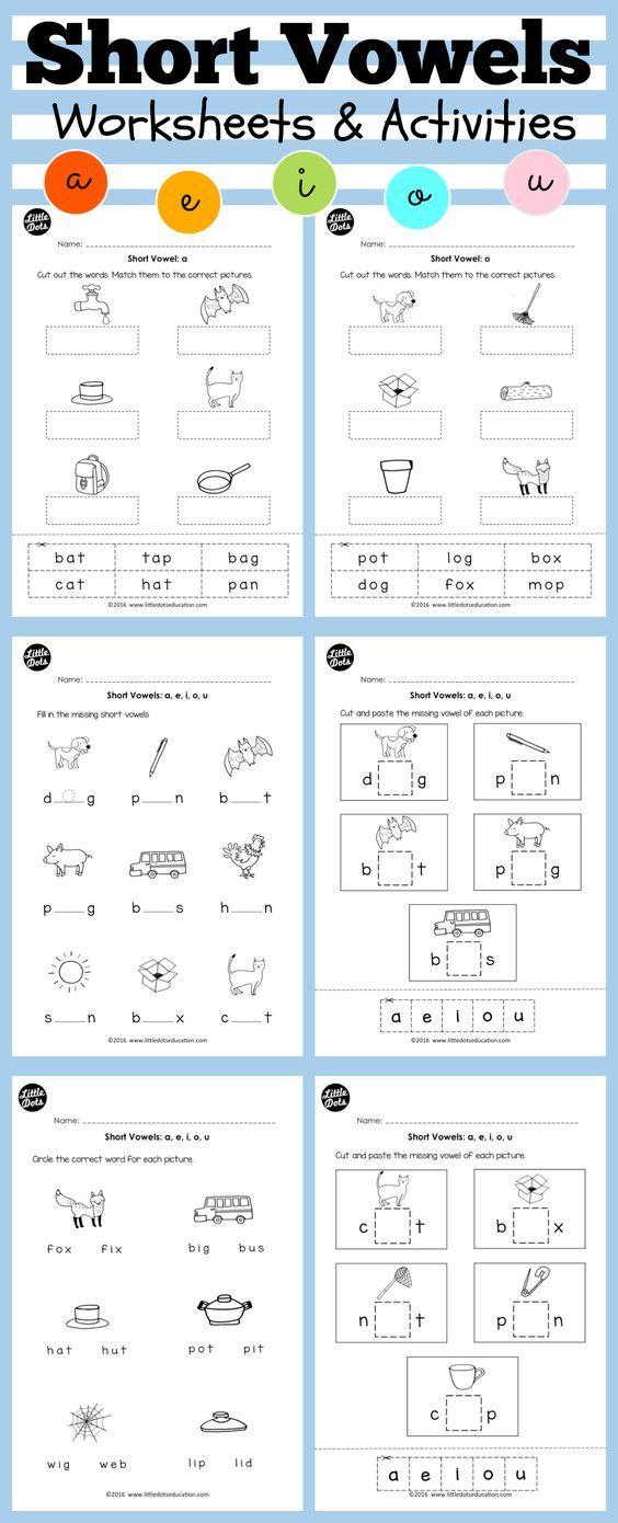 Short vowels worksheets and activities for preschool or kindergarten ...
