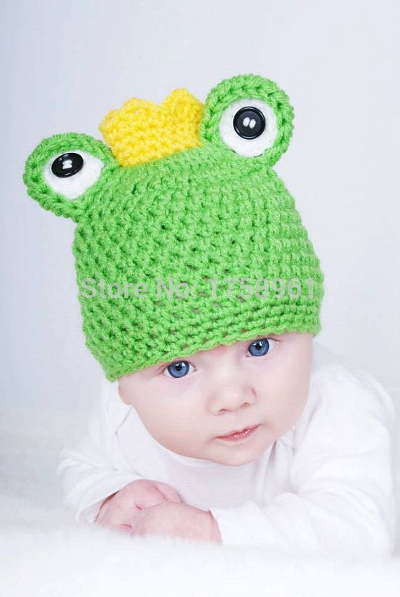 Click to Buy << Crochet baby hat,frog prince hat , baby photo prop ...