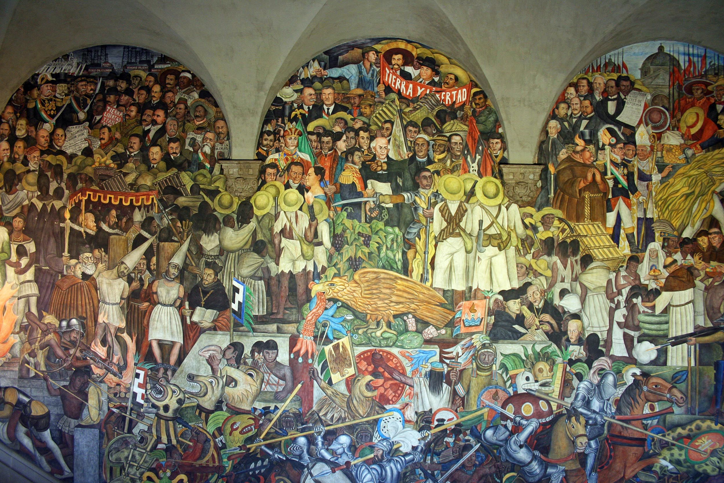 Diego rivera mural mexicano historia de mexico forma de for Diego rivera mural paintings