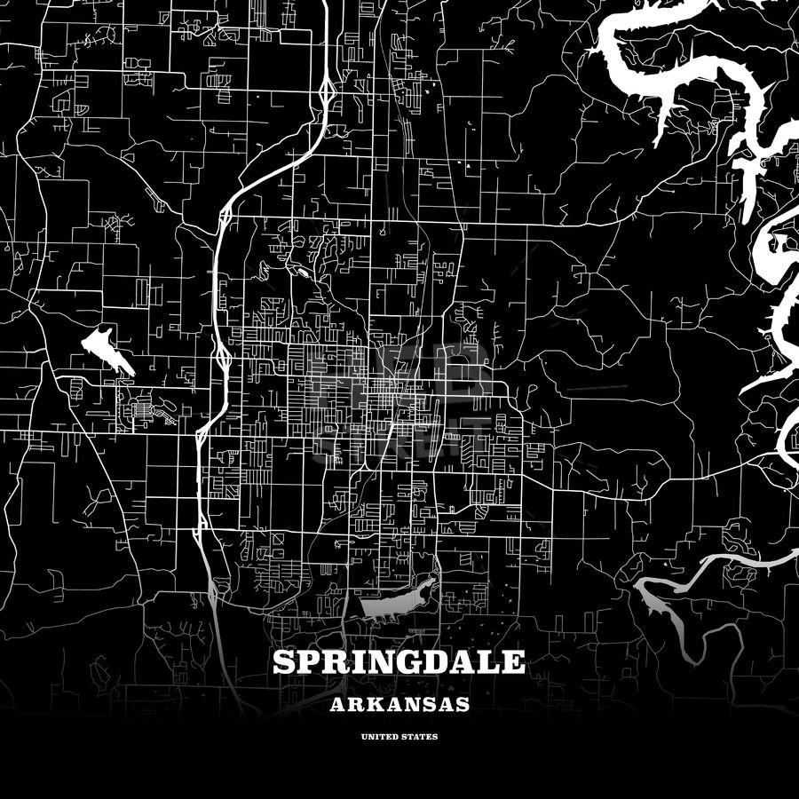 Black map poster template of Springdale, Arkansas, USA | Maps Vector ...