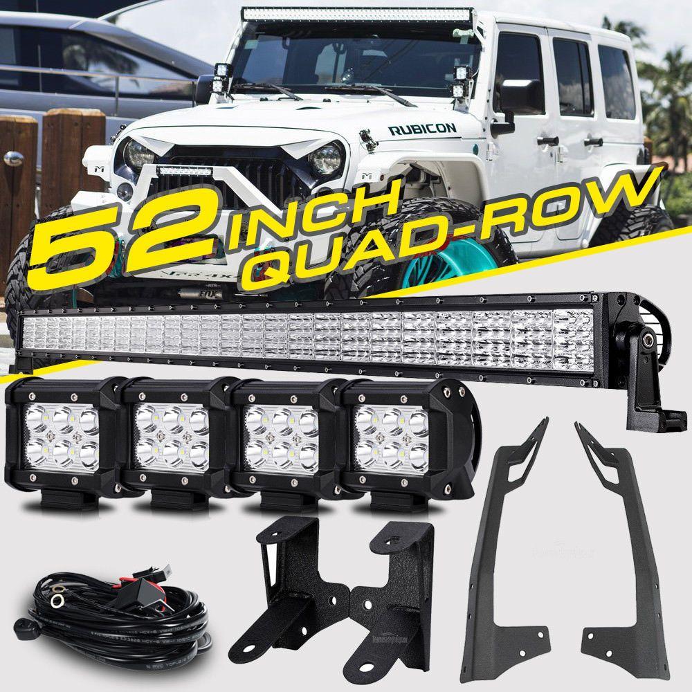 For Jeep Wrangler Jk 52 1000w Dual Row 4x 4 Pods Cree Led Light Bar Mounts Kit Jeep Wrangler Jk Jeep Wrangler Lights Jeep Wrangler