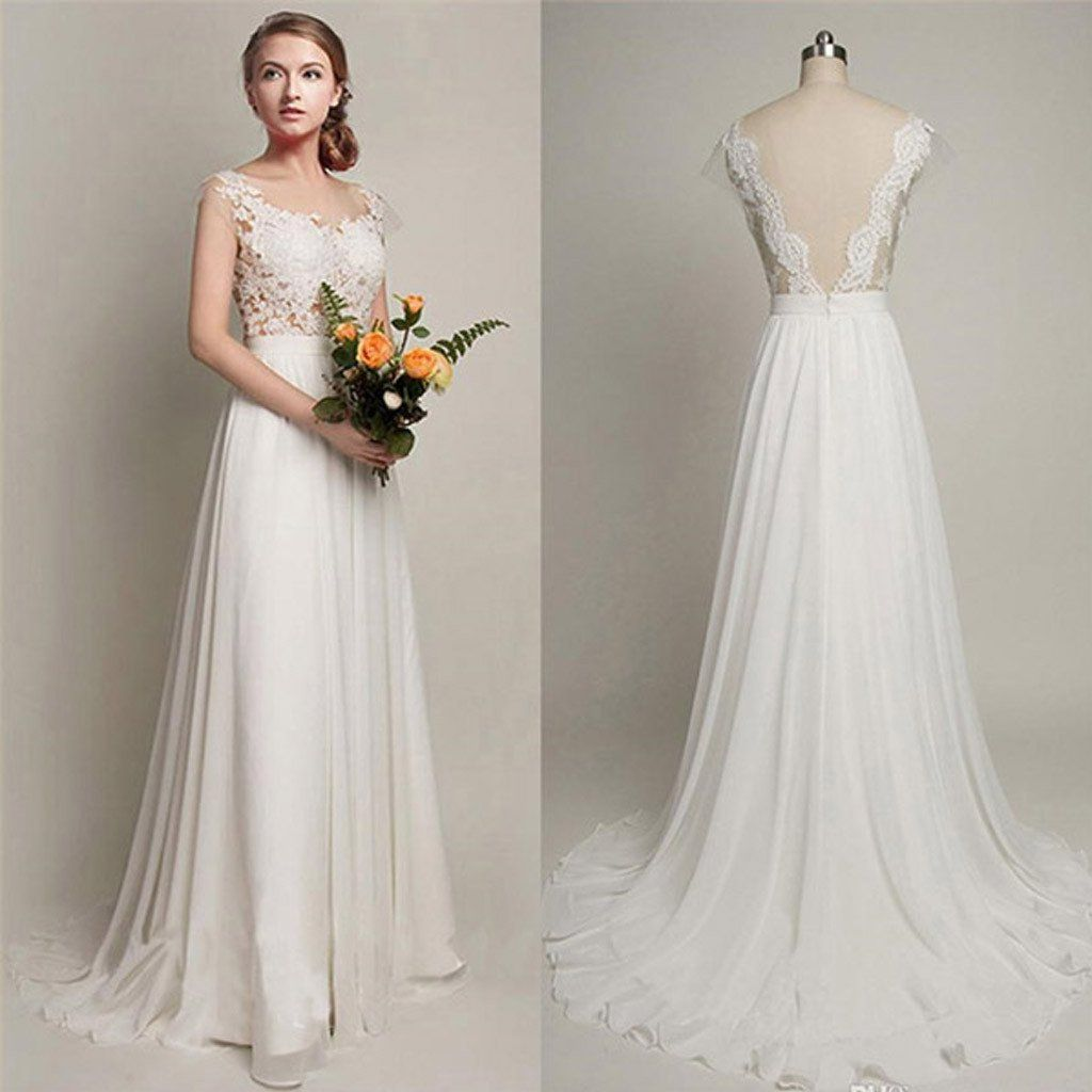 Simple Long A-Line V-back Lace Wedding Dresses, Chiffon
