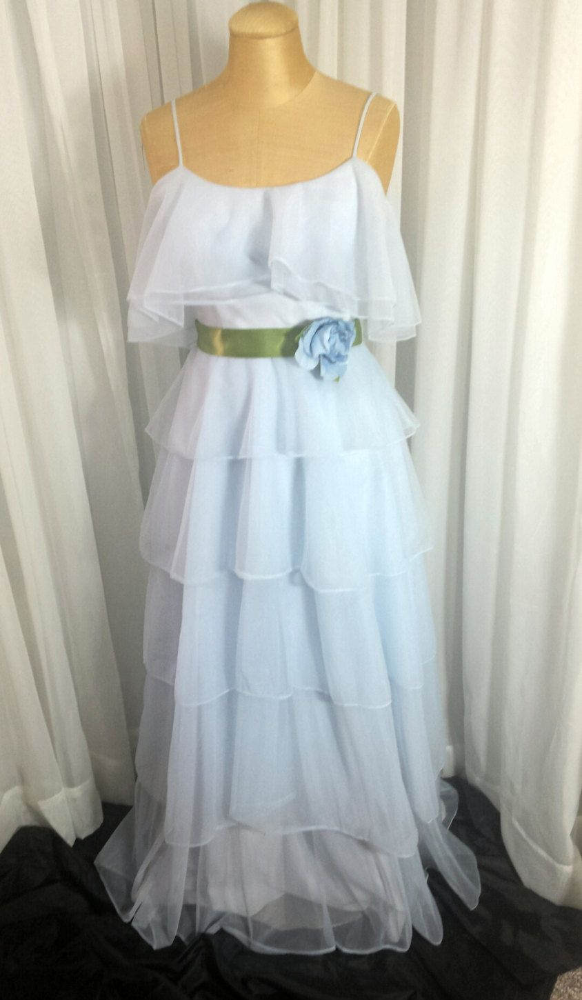 Blue tiered organza special occasion dress size by