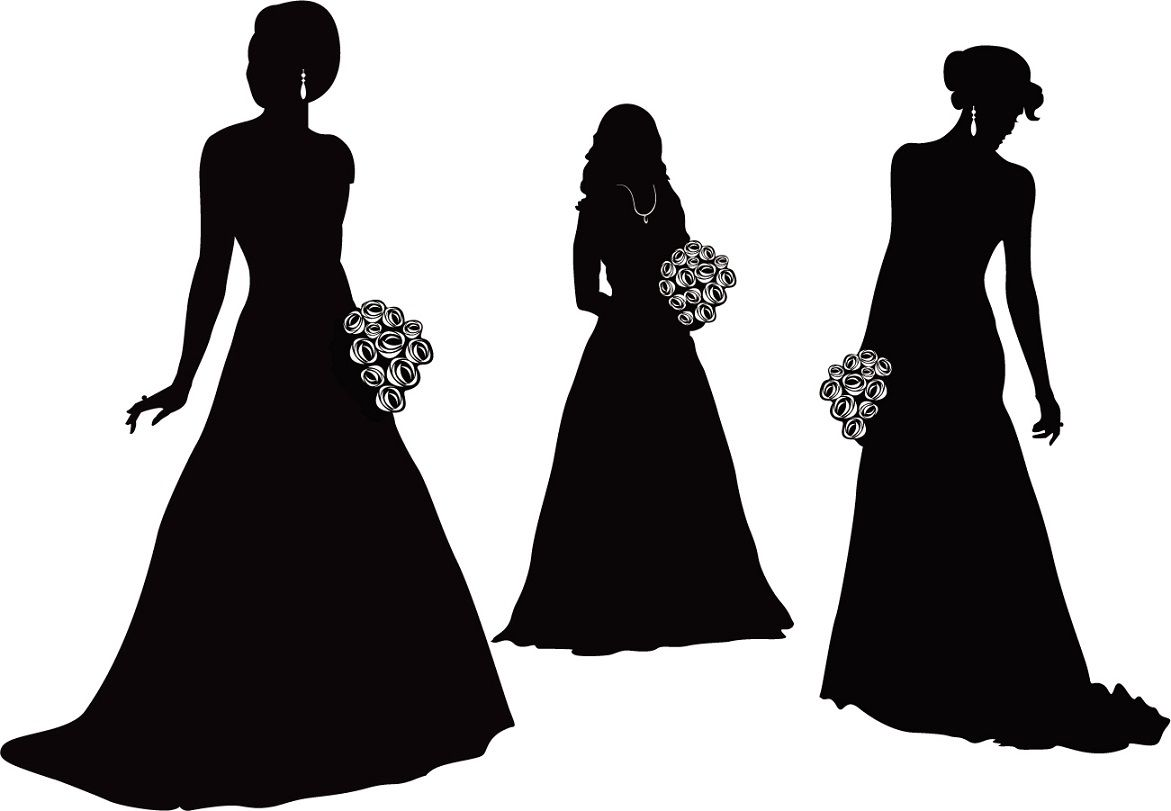 Bride Silhouette Black And White Vector Bride And Groom Silhouette The Style Of The Wedding Party