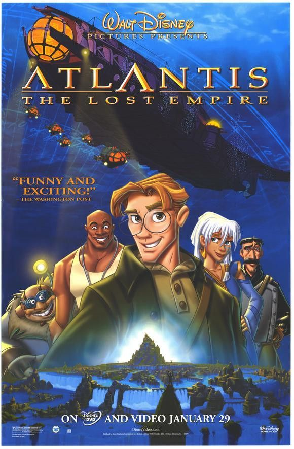 Atlantis The Lost Empire Movie Poster 27x40 Used Disney Atlantis The Lost Empire Empire Movie Disney Movie Posters